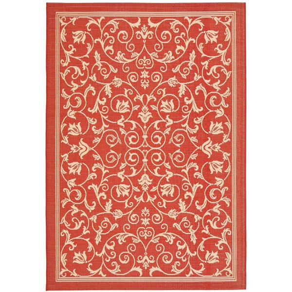 """Safavieh Courtyard Floral Rug - 2' 7"""" x 5' - Red/Natural"""
