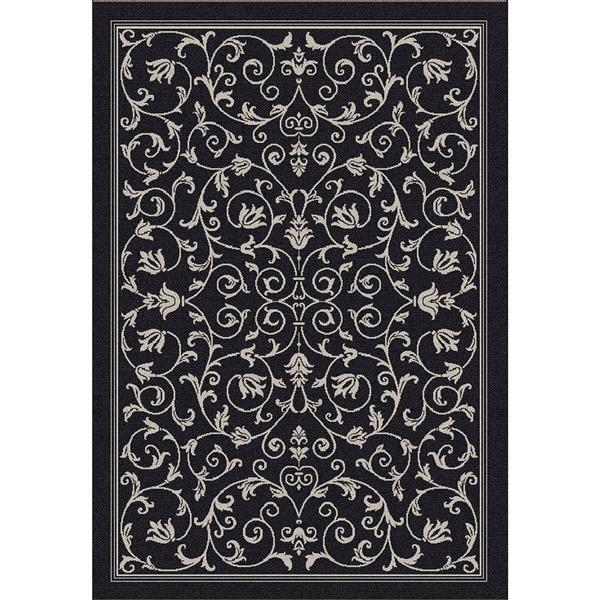 "Safavieh Courtyard Floral Rug - 4' x 5' 7"" - Black/Sand"