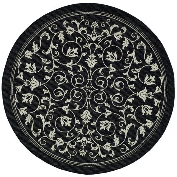 "Safavieh Courtyard Floral Rug - 5' 3"" x 5' 3"" - Black/Sand"