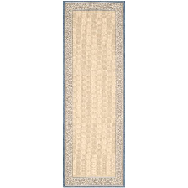 "Safavieh Courtyard Border Rug - 2' 3"" x 6' 7"" - Natural/Blue"