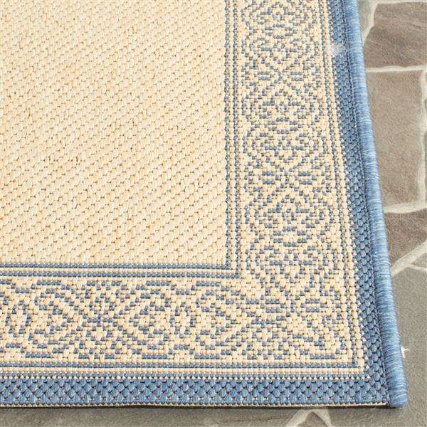 "Safavieh Courtyard Border Rug - 2' 3"" x 10' - Natural/Blue"