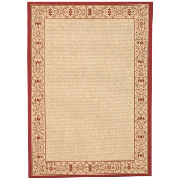 "Safavieh Courtyard Border Rug - 4' x 5' 7"" - Natural/Red"