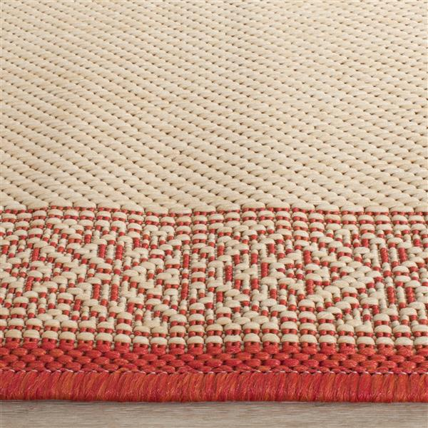 "Safavieh Courtyard Border Rug - 5' 3"" x 5' 3"" - Natural/Red"