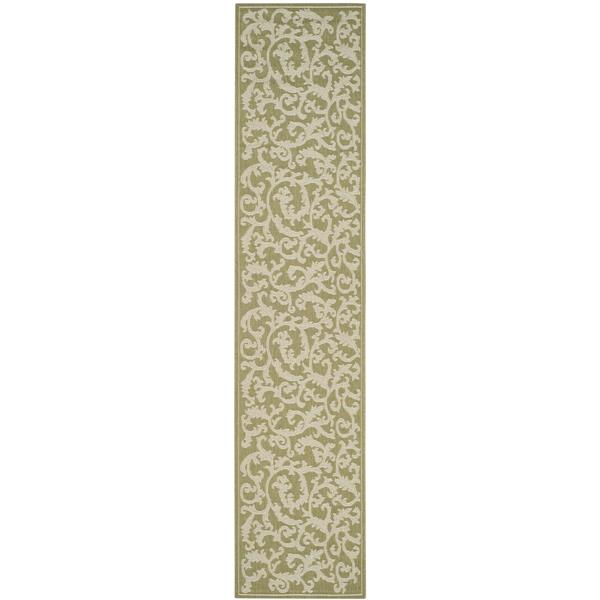 "Safavieh Courtyard Floral Rug - 2' 3"" x 6' 7"" - Olive/Natural"