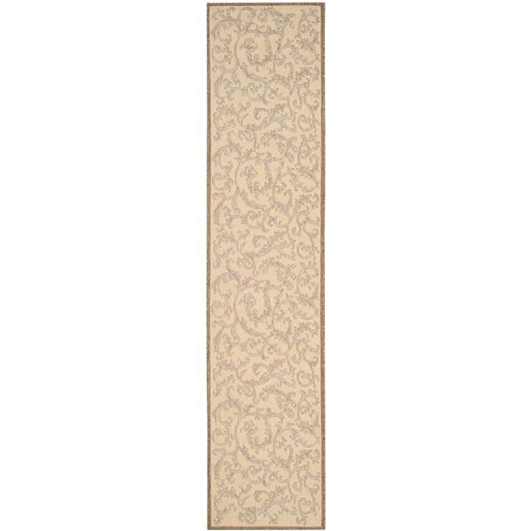 "Safavieh Courtyard Floral Rug - 2' 3"" x 10' - Natural/Brown"