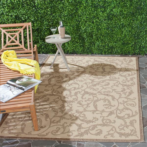 "Safavieh Courtyard Floral Rug - 2' 7"" x 5' - Natural/Brown"