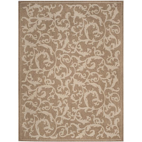 "Safavieh Courtyard Floral Rug - 4' x 5' 7"" - Brown/Natural"