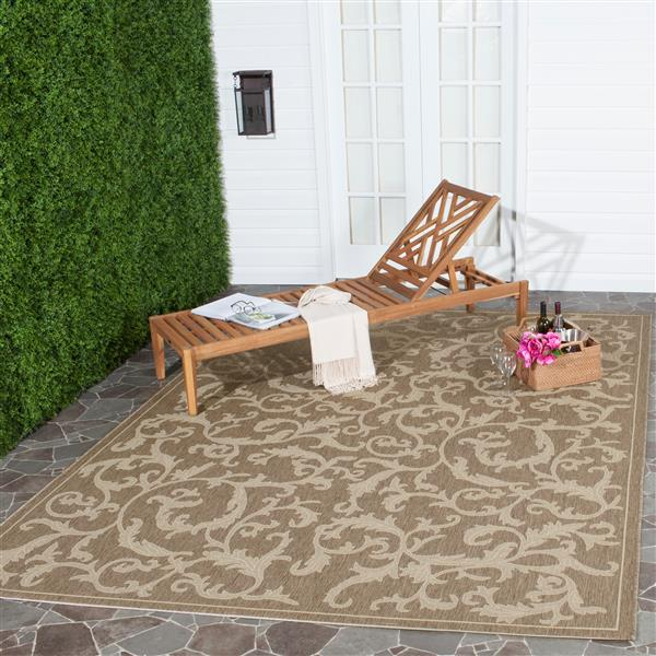 "Safavieh Courtyard Floral Rug - 5' 3"" x 7' 7"" - Brown/Natural"