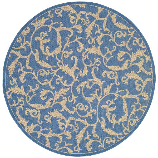 "Safavieh Courtyard Floral Rug - 5' 3"" x 5' 3"" - Blue/Natural"