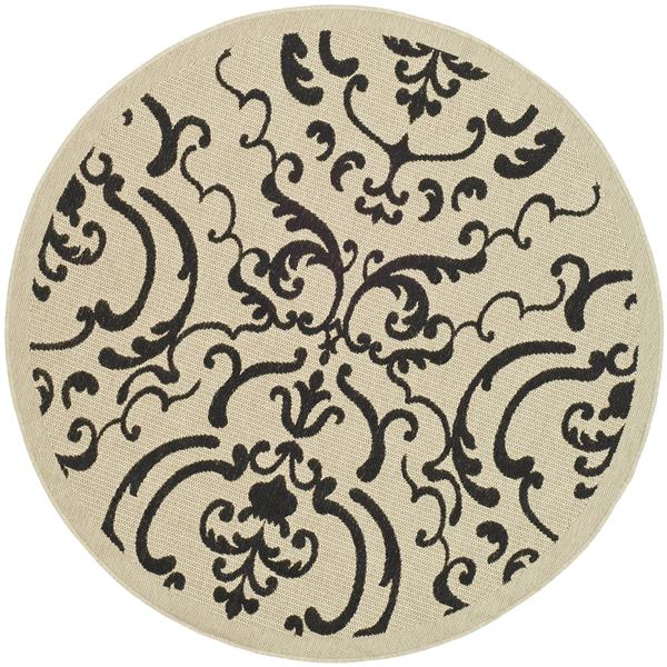 "Safavieh Courtyard Damask Rug - 5' 3"" x 5' 3"" - Sand/Black"