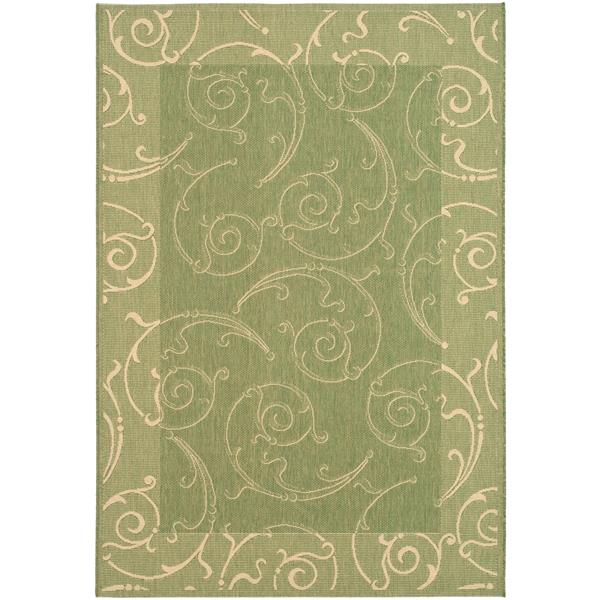 "Safavieh Courtyard Floral Rug - 4' x 5' 7"" - Olive/Natural"