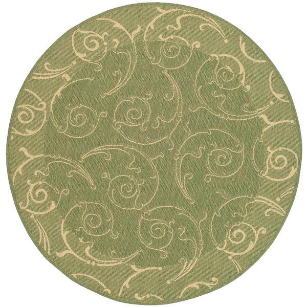 "Safavieh Courtyard Floral Rug - 5' 3"" x 5' 3"" - Olive/Natural"
