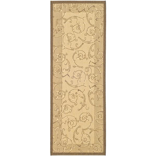 "Safavieh Courtyard Floral Rug - 2' 3"" x 6' 7"" - Natural/Brown"