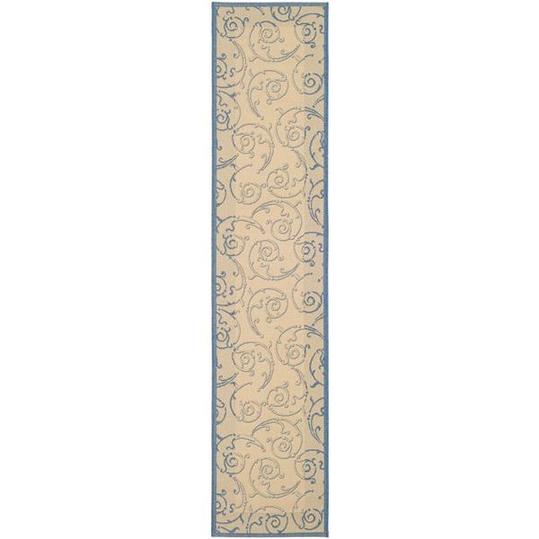 "Safavieh Courtyard Floral Rug - 2' 3"" x 10' - Natural/Blue"