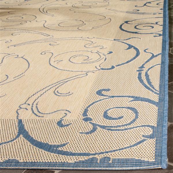 "Safavieh Courtyard Floral Rug - 2' 3"" x 6' 7"" - Natural/Blue"