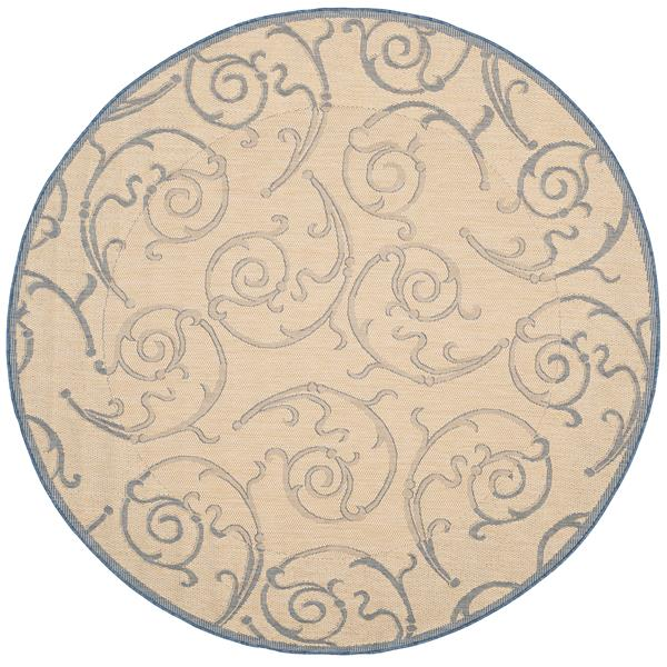 "Safavieh Courtyard Floral Rug - 5' 3"" x 5' 3"" - Natural/Blue"