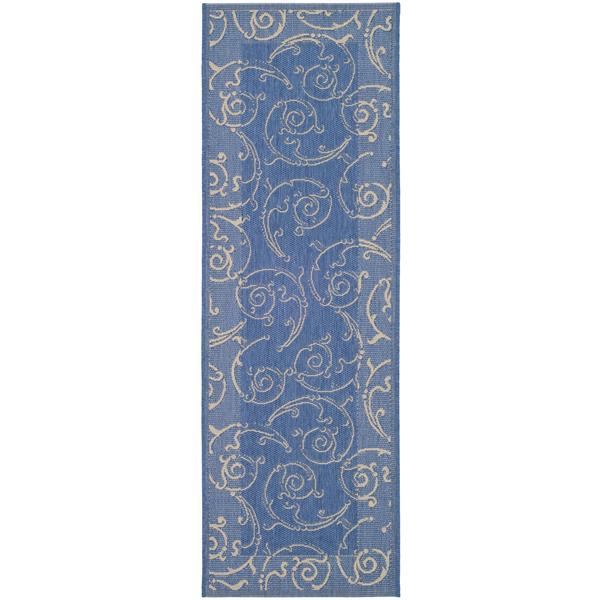 "Safavieh Courtyard Floral Rug - 2' 3"" x 10' - Blue/Natural"