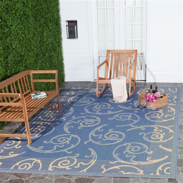 "Safavieh Courtyard Floral Rug - 4' x 5' 7"" - Blue/Natural"