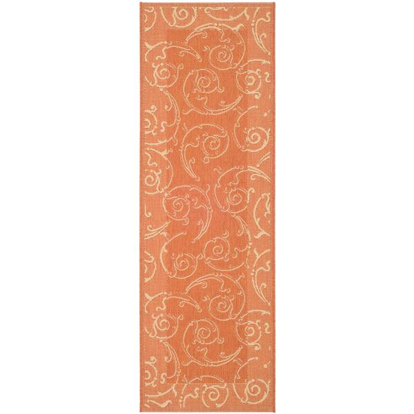 "Safavieh Courtyard Floral Rug - 2' 3"" x 6' 7"" - Terracotta/Natural"