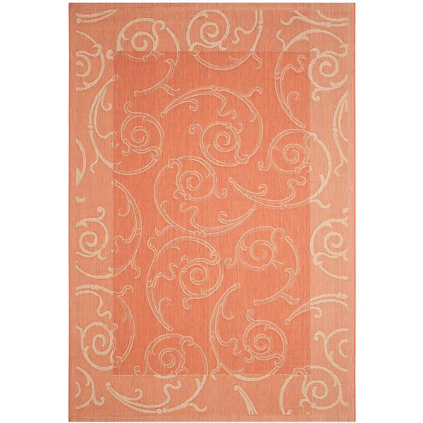"Safavieh Courtyard Floral Rug - 4' x 5' 7"" - Terracotta/Natural"
