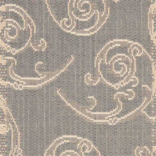 "Safavieh Courtyard Floral Rug - 2' 4"" x 14' - Grey/Natural"