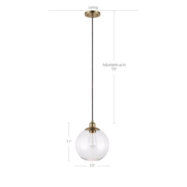 Luminaire suspendu Cresswell, Laiton et verre transparent