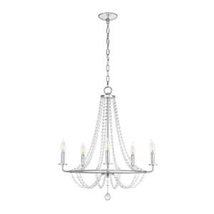 Cresswell 5-Light Chandelier - Chrome and Beaded Crystal