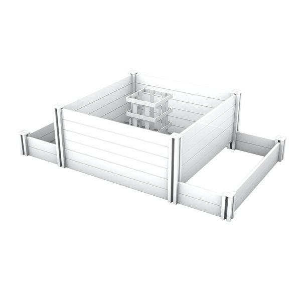 Vita Keyhole Raised Planter and composter - White - 4'x7'