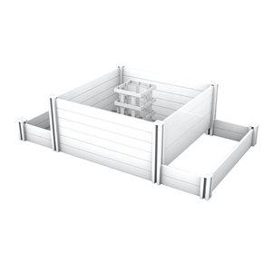 Jardinière et composteur Keyhole à 3 sections, Blanc, 4'x7'