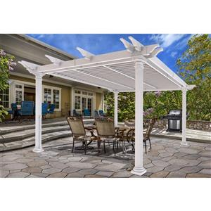 Aberdeen Round-Post Louvered Pergola - White - 12'x12'