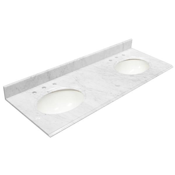"Dessus de meuble-lavabo, 61"" x 22"", marbre, blanc Carrara"