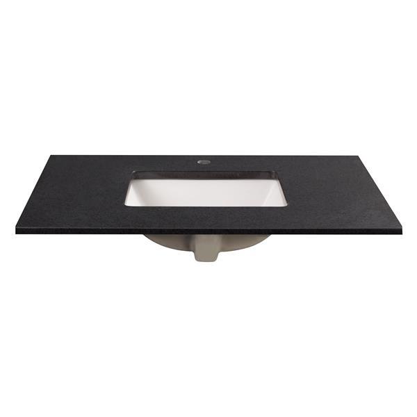 """Dessus de meuble-lavabo, 37"""" x 22"""", granite, noir"""