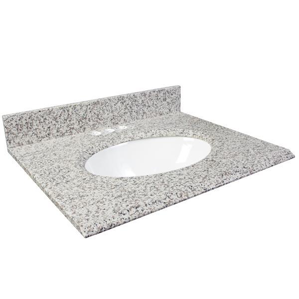 "Dessus de meuble-lavabo, 37"" x 22"", granite, cendre blanc"