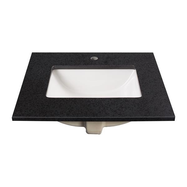 """Dessus de meuble-lavabo, 25"""" x 22"""", granite, noir"""