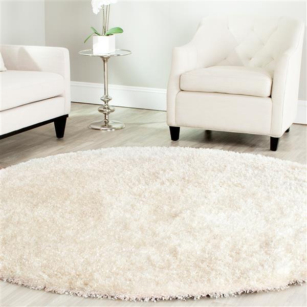 Safavieh Malibu Round Shag Rug - 7' x 7', White