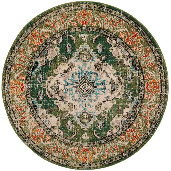 Safavieh Monaco Decorative Rug - 5' x 5' - Forest Green/Light Blue