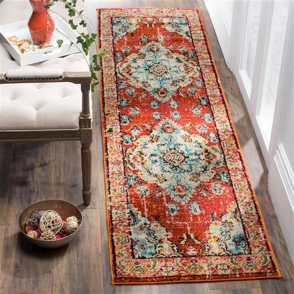 Safavieh Monaco Decorative Rug - 2.2' x 8' - Orange/Light Blue