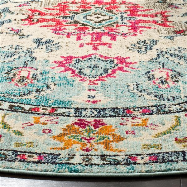 Safavieh Monaco Decorative Rug - 5' x 5' - Light Blue/Fuchsia