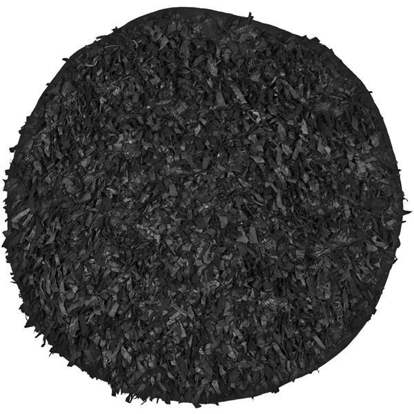 Safavieh Leather Shag Decorative Rug - 4' x 4' - Black