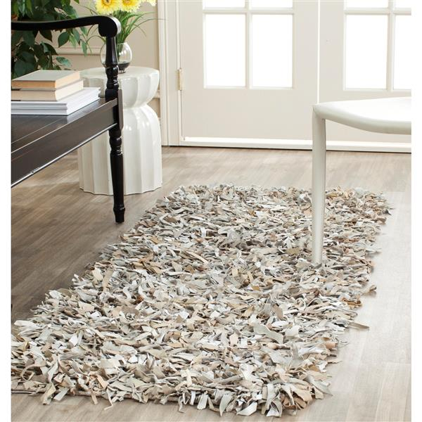 Safavieh Leather Shag Decorative Rug - 2.3' x 9' - White