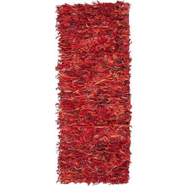 Safavieh Leather Shag Decorative Rug - 2.3' x 9' - Red
