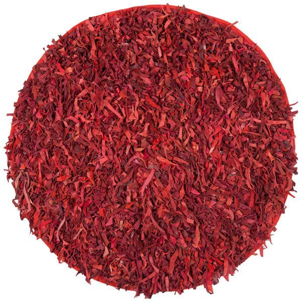 Safavieh Leather Shag Decorative Rug - 4' x 4' - Red