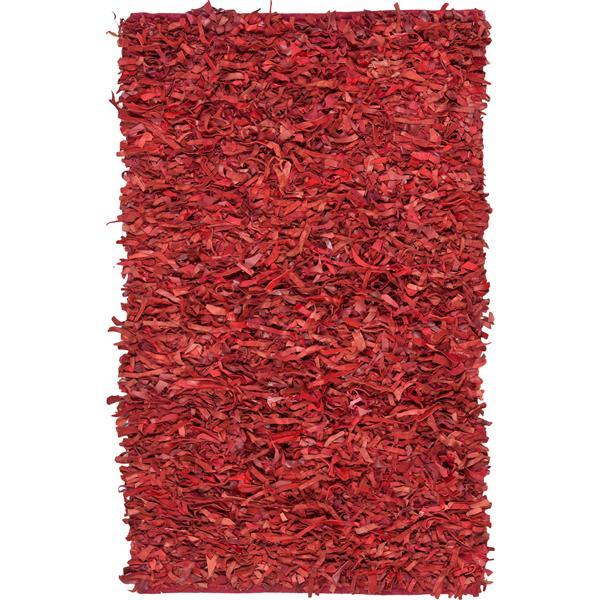 Safavieh Leather Shag Decorative Rug - 3' x 5' - Red