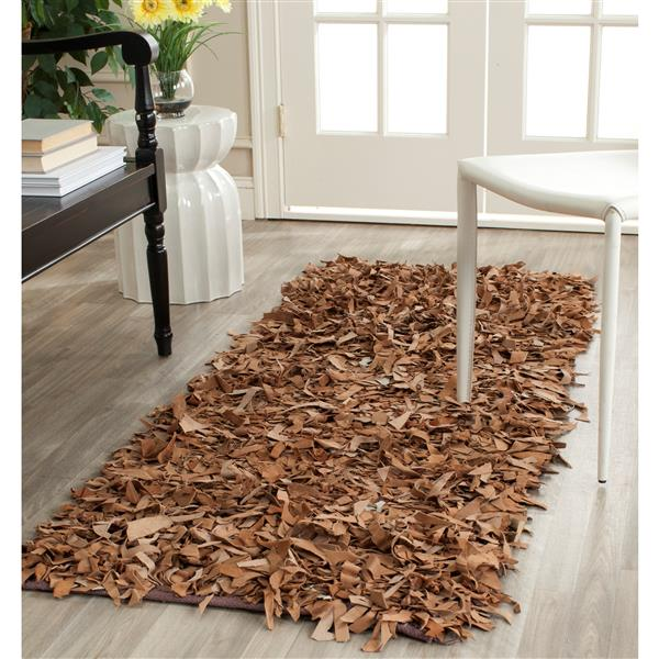 Safavieh Leather Shag Decorative Rug - 2.3' x 4' - Brown