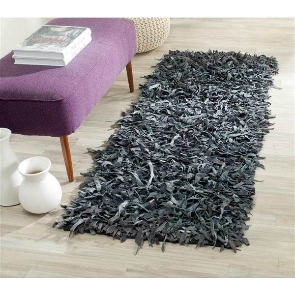 Safavieh Leather Shag Decorative Rug - 2.3' x 9' - Grey