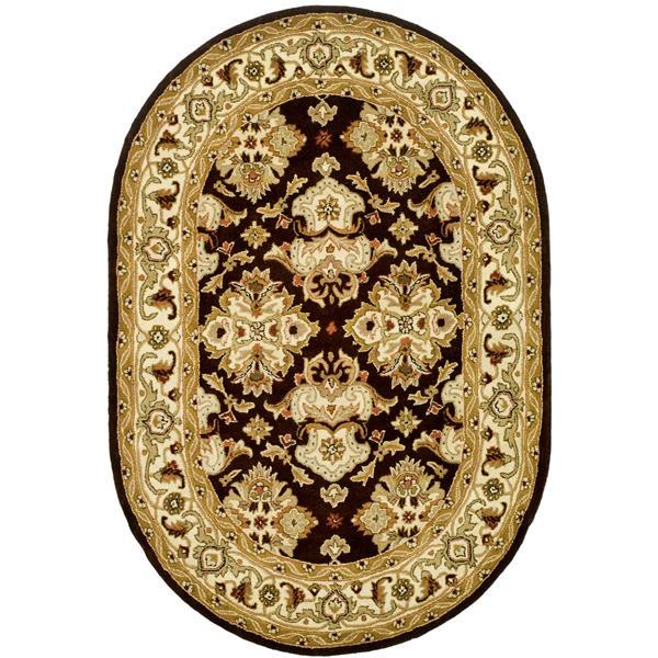 "Safavieh Heritage Decorative Rug - 7' 6"" x 9' 6"" - Espresso/Ivory"