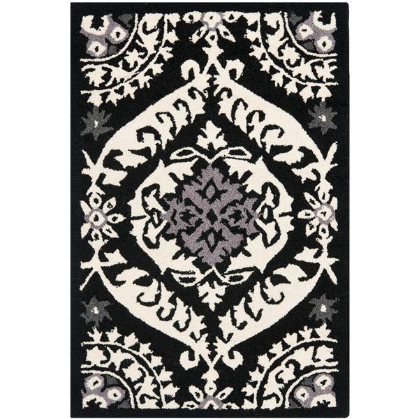 "Safavieh Chelsea Decorative Rug - 1' 8"" x 2' 6"" - Black/Ivory"