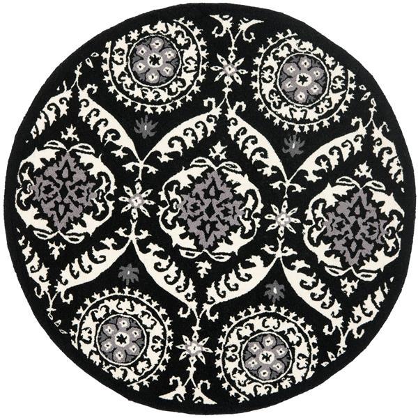 Safavieh Chelsea Round Rug - 4' x 4' - Black/Ivory
