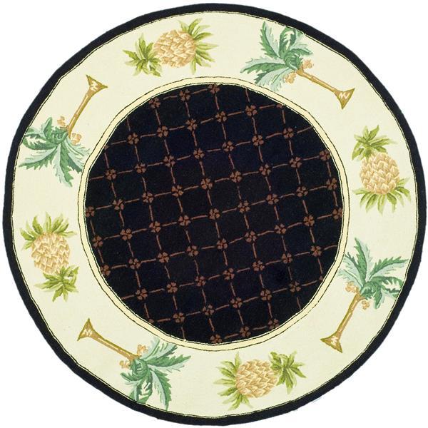 Safavieh Chelsea Round Rug - 3' x 3' - Black/Ivory
