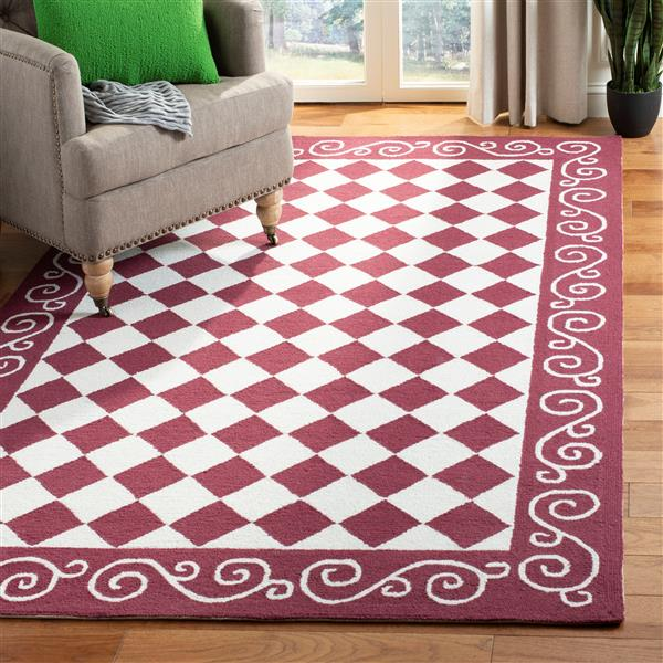 "Safavieh Chelsea Decorative Rug - 1' 8"" x 2' 6"" - Burgundy/Ivory"